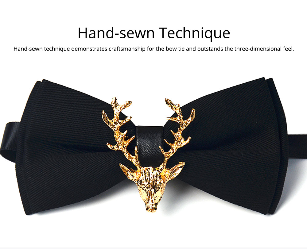 Bow Tie of Double Layer for Wedding Deer Head Decorative Accessory Bow Tie Fashionable British Style Elviro Tie Bridegroom Groomsman Used Bow Time 4