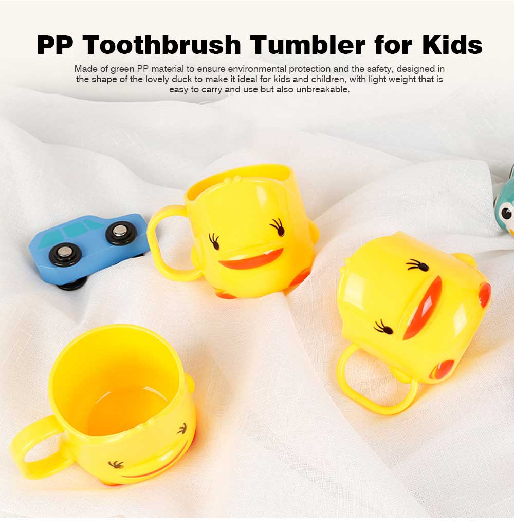 Cartoon Toothbrush Tumbler for Kids Children, Green PP Toothbrush Cup with Handle, Duck Designed Dental Care Mug 0