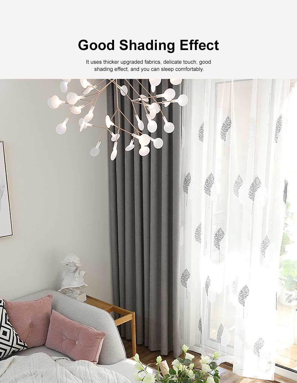 5 Color Nordic Style Curtain, Solid Color Curtains for Living Room Bedroom, Modern Minimalist Blackout Curtain 4