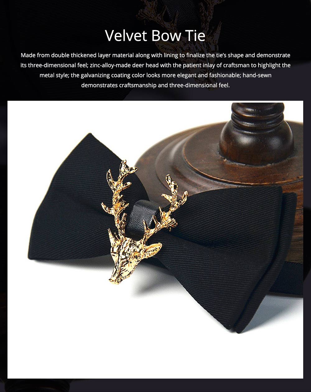 Bow Tie of Double Layer for Wedding Deer Head Decorative Accessory Bow Tie Fashionable British Style Elviro Tie Bridegroom Groomsman Used Bow Time 0