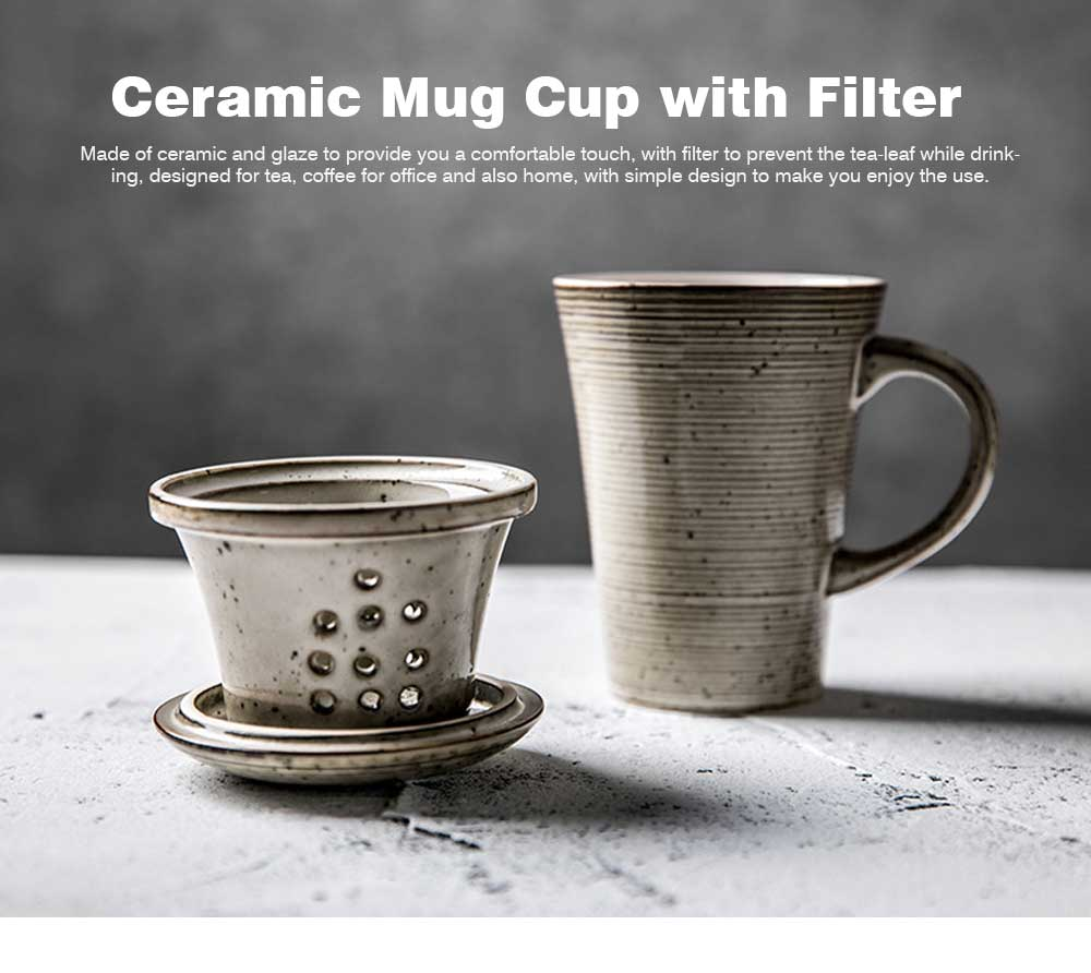 Ceramic Mug Cup with Filter Steepe Ideal for Office, Home, Glazed Mug Cup with Lid for Tea, Coffee, Porcelain Water Mug Cup 330ml 0
