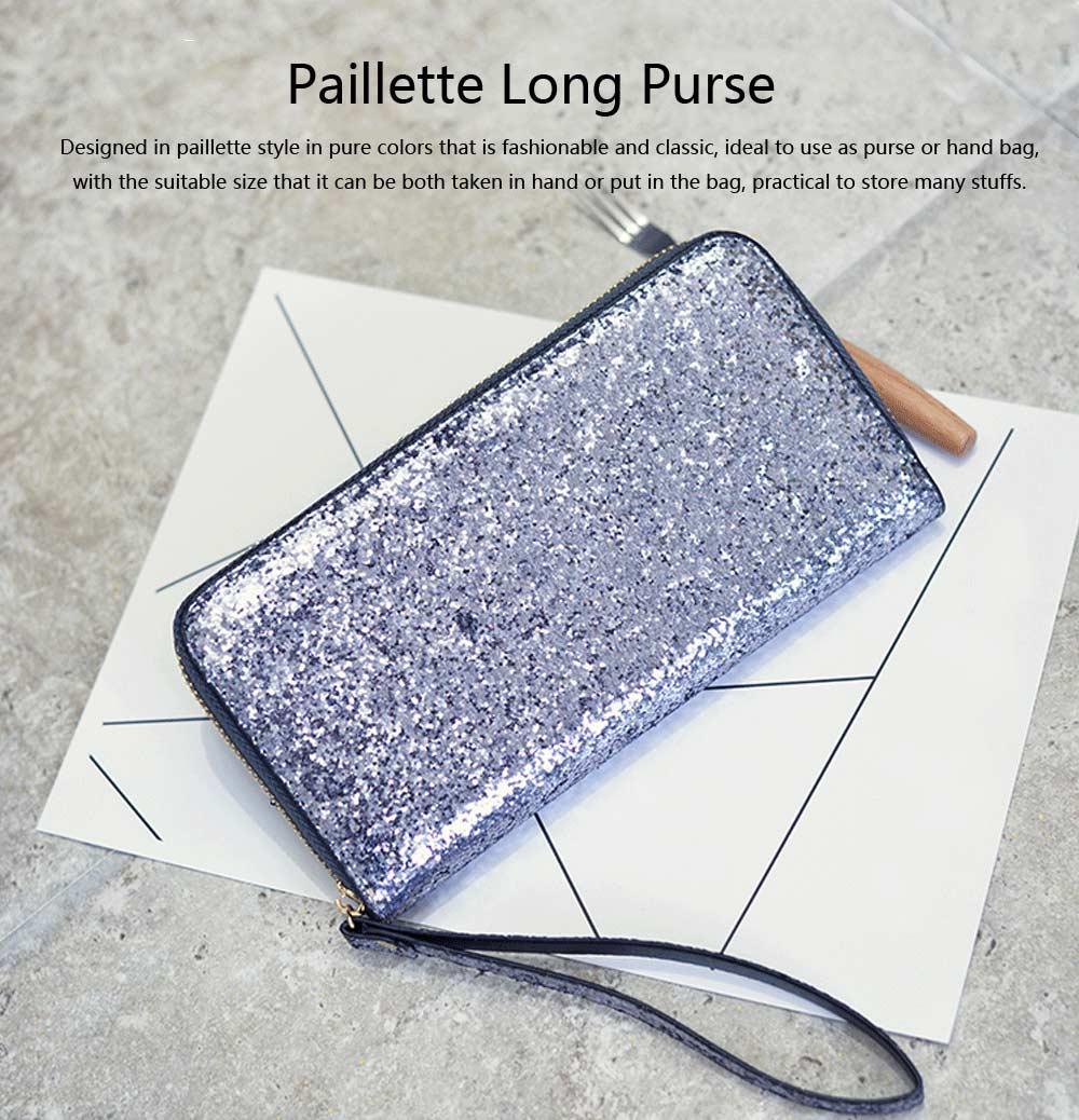 2019 Newest Evening Hand Bag Paillette Purse for Women Lady Girl, Fashionable Long Style Purse, Hand Clutch Bag, Simple Classic Purse 4 Colors 0