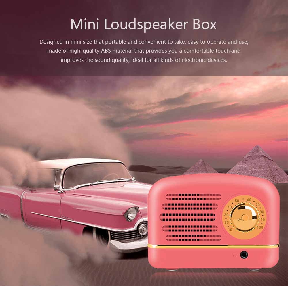 Mini Loudspeaker for Phones & Computers, Retro Portable 3D HD Stereo Deep Bass Speaker Box 0