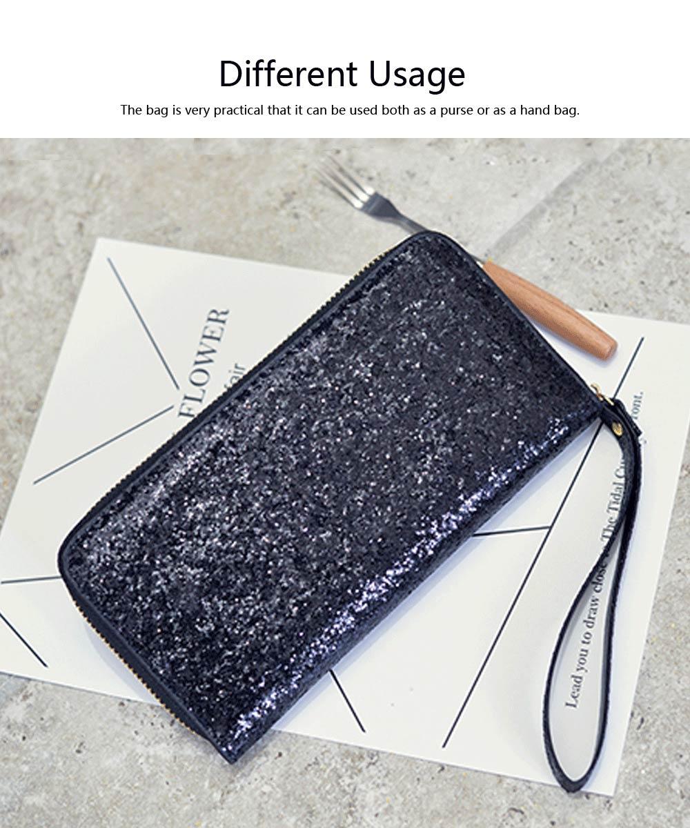 2019 Newest Evening Hand Bag Paillette Purse for Women Lady Girl, Fashionable Long Style Purse, Hand Clutch Bag, Simple Classic Purse 4 Colors 2
