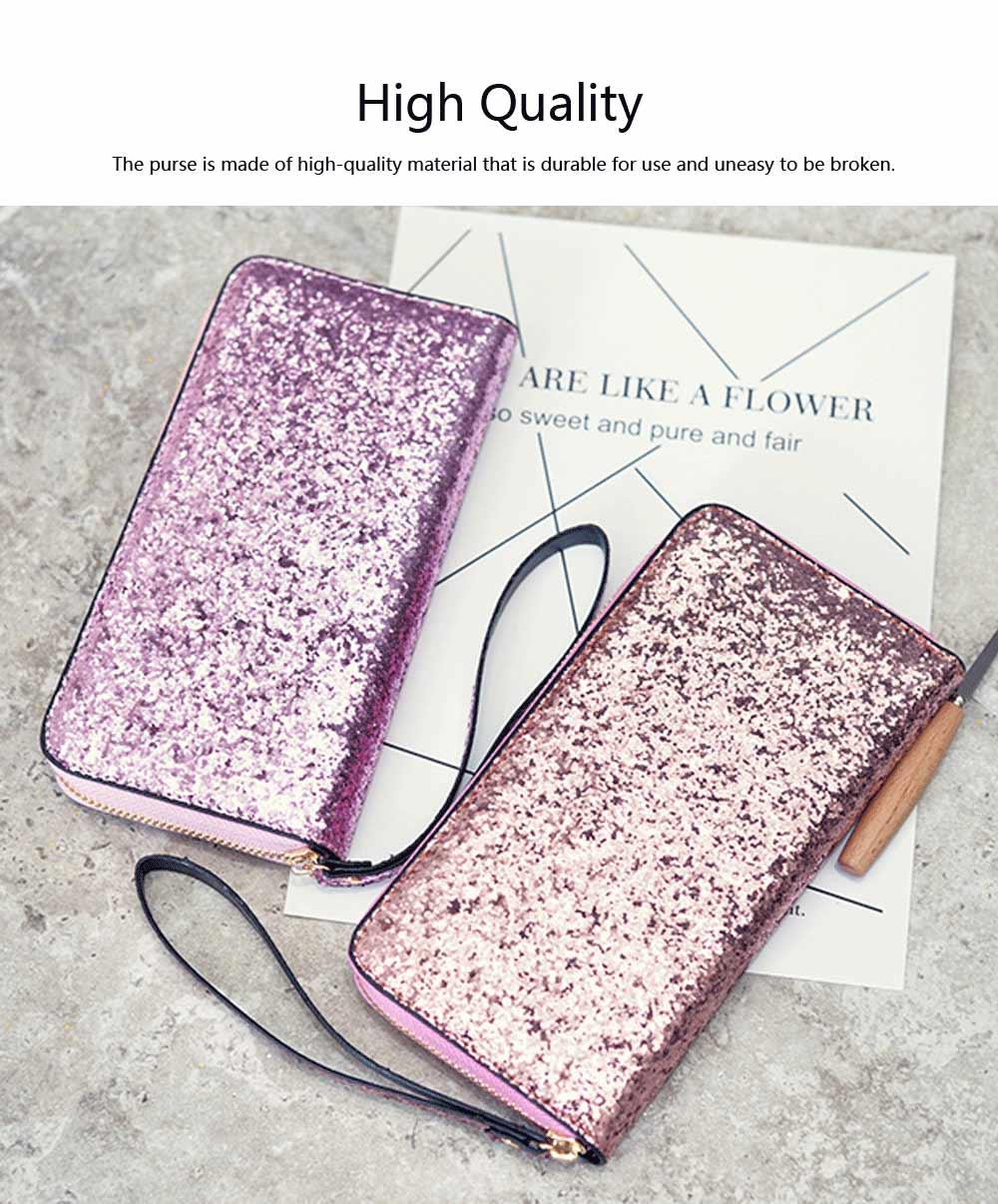 2019 Newest Evening Hand Bag Paillette Purse for Women Lady Girl, Fashionable Long Style Purse, Hand Clutch Bag, Simple Classic Purse 4 Colors 5