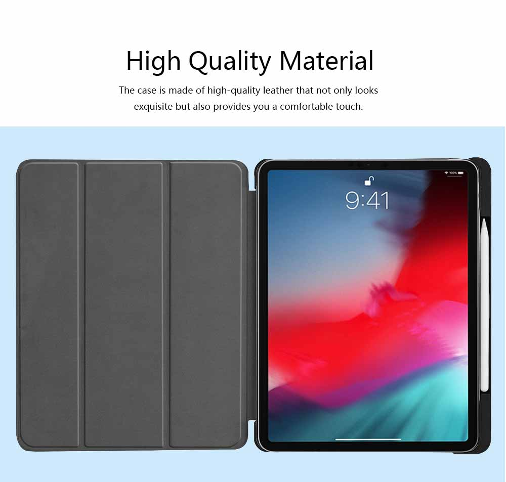 iPad Pro 11 Inch 2018 Triple Protection Case, Ultra-thin Leather iPad Cover Case with Pencil Slot, Triple Fold Auto Sleep Wake Up Function Protective Case 3