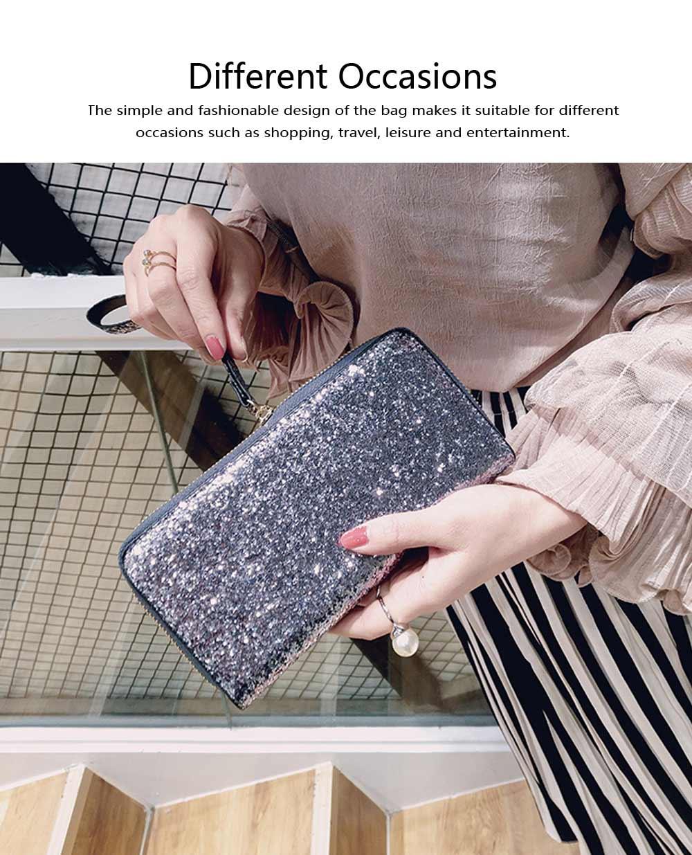 2019 Newest Evening Hand Bag Paillette Purse for Women Lady Girl, Fashionable Long Style Purse, Hand Clutch Bag, Simple Classic Purse 4 Colors 4