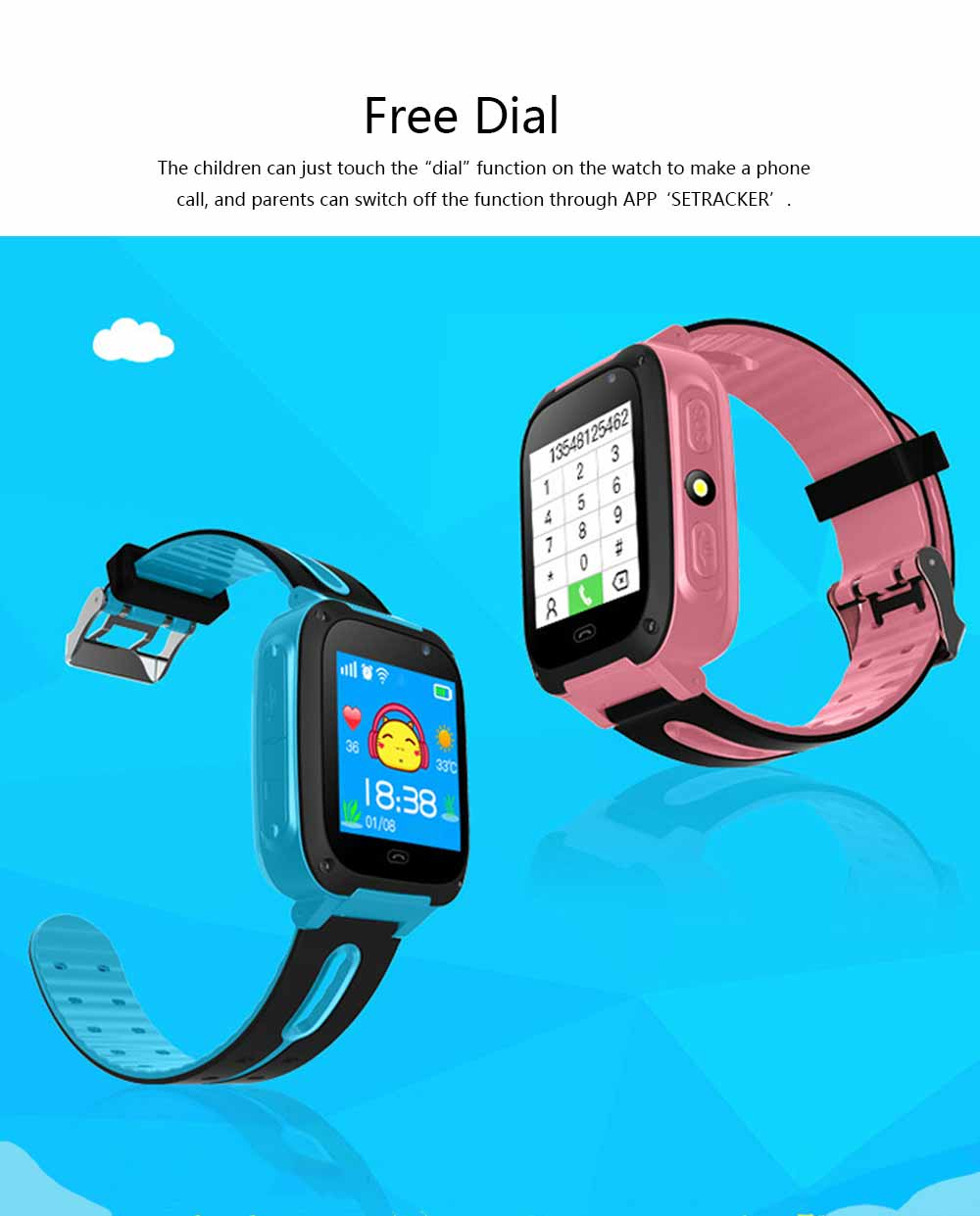 Children Kids Smart Watch with Camera, Touch Screen Watch Tracker SOS Call Multifunctional Digital Watch with Flash Light 1