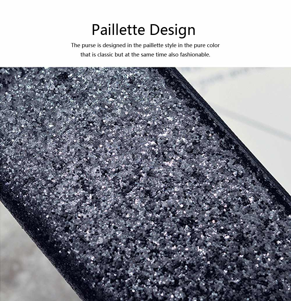 2019 Newest Evening Hand Bag Paillette Purse for Women Lady Girl, Fashionable Long Style Purse, Hand Clutch Bag, Simple Classic Purse 4 Colors 1