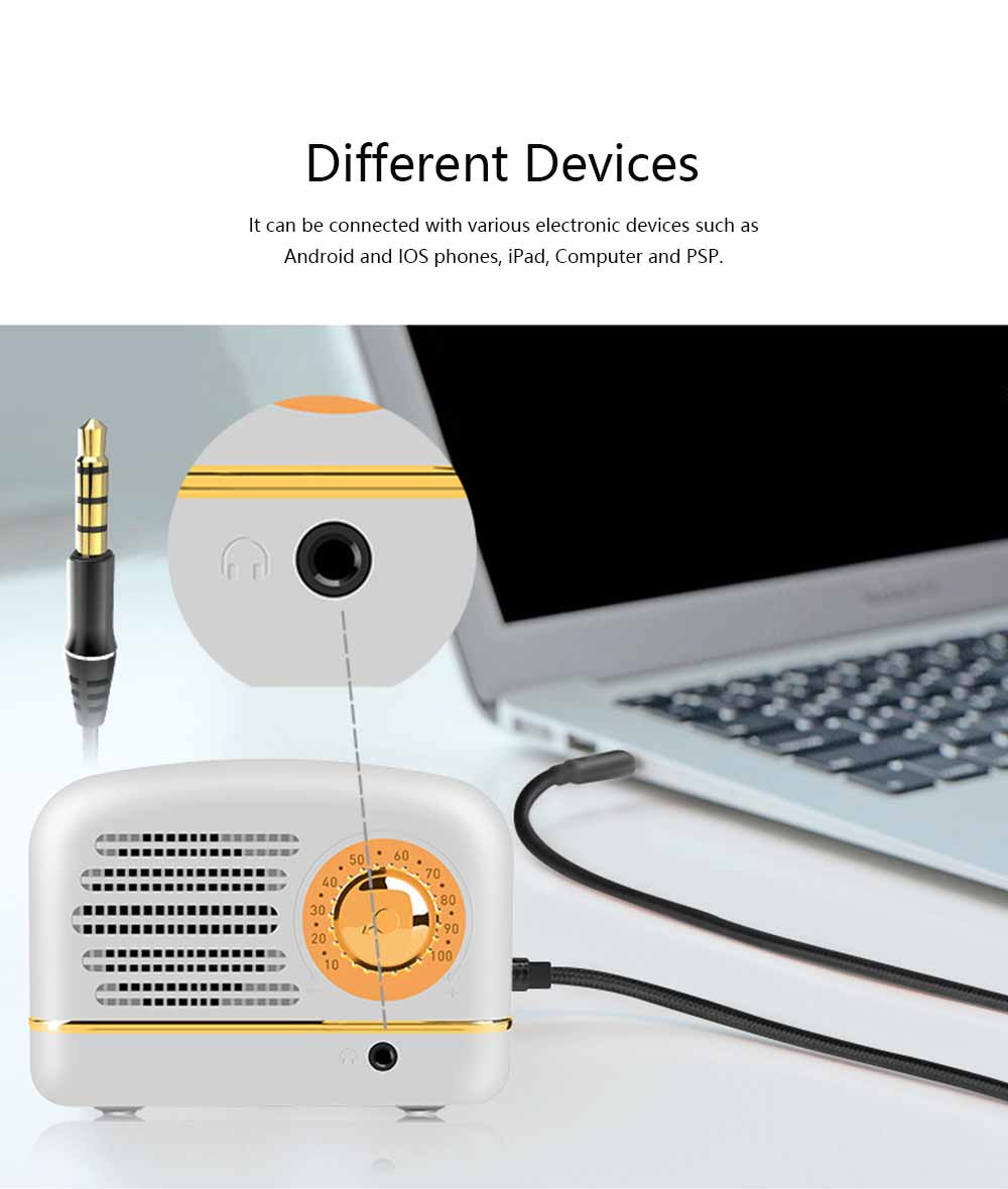 Mini Loudspeaker for Phones & Computers, Retro Portable 3D HD Stereo Deep Bass Speaker Box 6