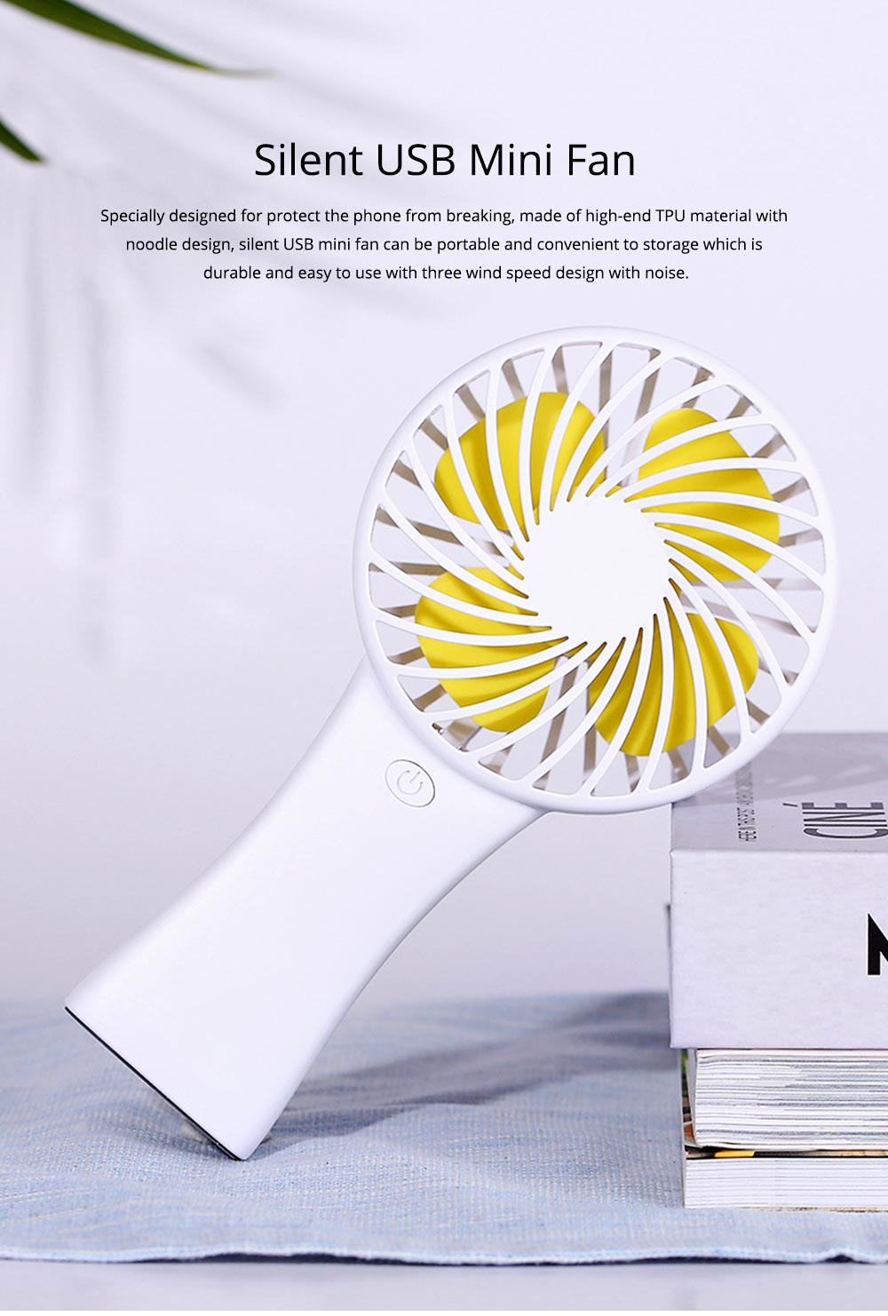Silent USB Mini Fan with Large Capacity Outdoor Hand Held Charging Portable Mini Fan with Hang Rope Hole 0