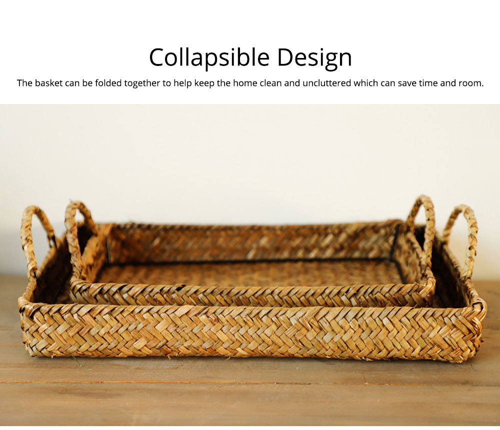 Hand Woven Fruit Tray Straw Tray Rectangular Storage Basket, Portable Seaweed Carrying Basket for Household Use 7