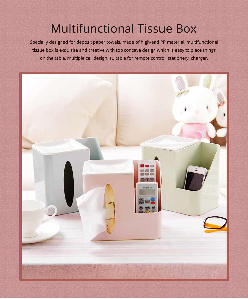 Multifunctional Tissue Box with Multiple Cell & Top Concave Design, Non-skid and Non-abrasive Bottom Pad Tissue Box 0