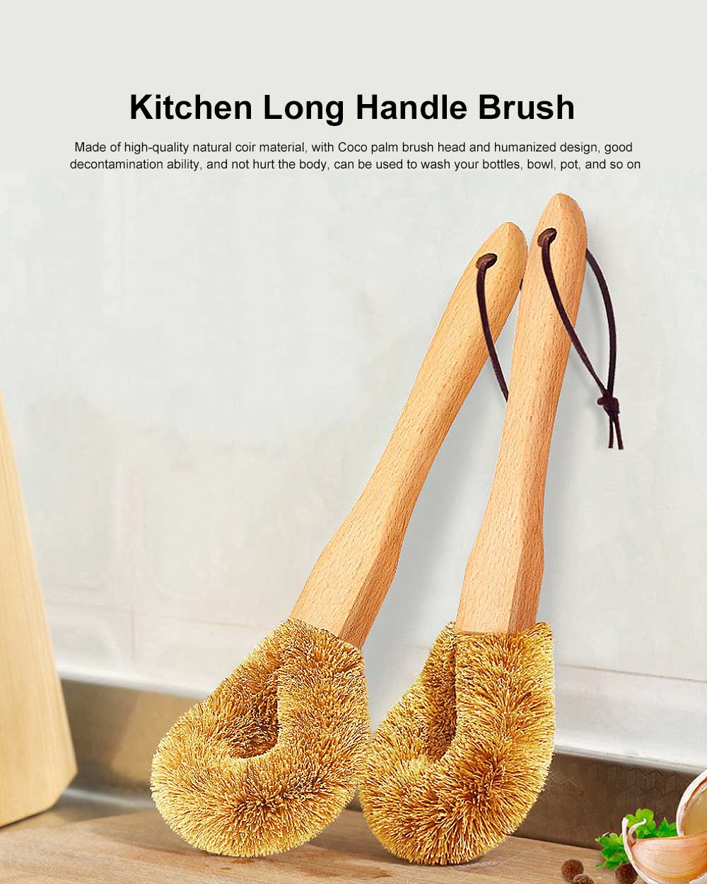 Kitchen Long Handle Brush, Household Practical Brush for Washing Pot, High-quality Natural Coir Cleaning Brush 0