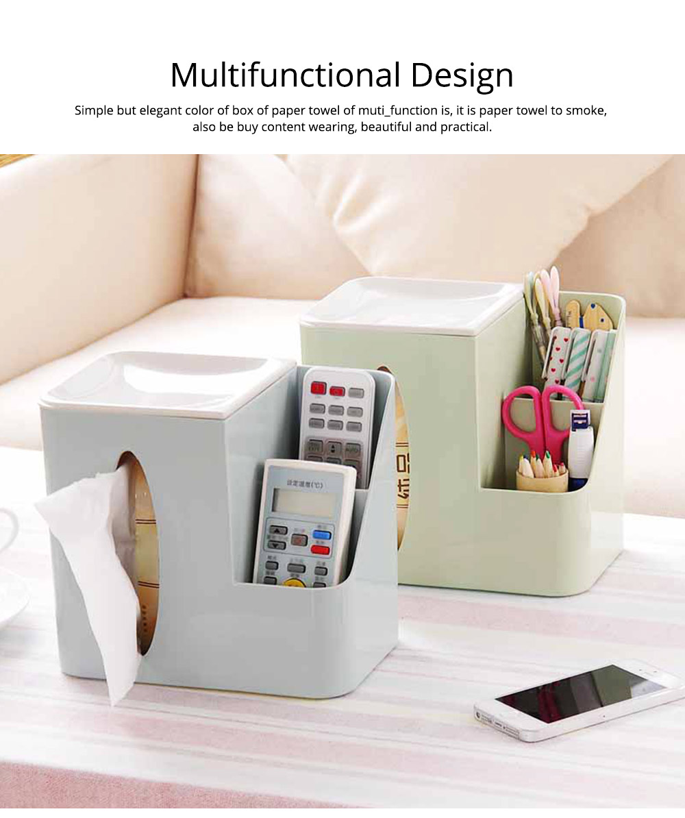 Multifunctional Tissue Box with Multiple Cell & Top Concave Design, Non-skid and Non-abrasive Bottom Pad Tissue Box 6