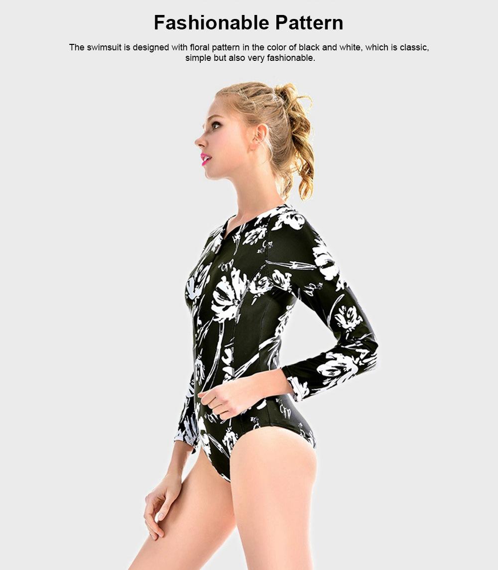 2019 Hot One-piece Long Sleeve Woman Swimsuit, Sun Proof Swim Wear, One-piece Bikini Surf Wetsuit For Woman, Fashionable Sexy Slim Beachwear Bathing Suit 1