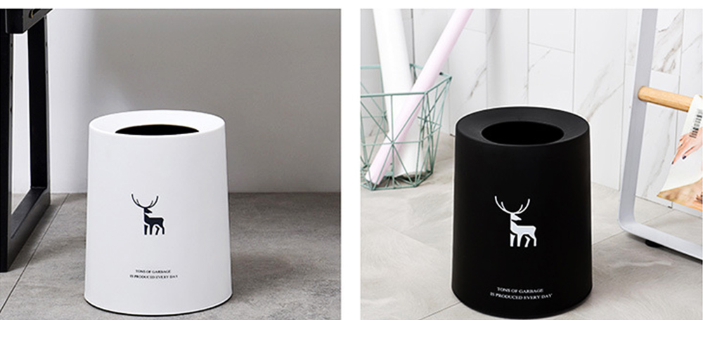 Double-layer Circular Trash Can with Creative Reindeer Pattern and Open Hatch & Internal  External Dual Pass Design 7