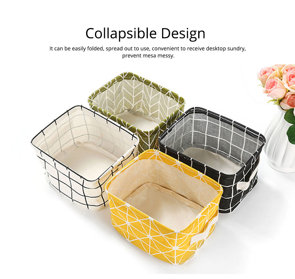 Strong Durable Fresh & Elegant Cotton Linen Storage Basket with Double Handle for Magazine, Toys, Snacks 3