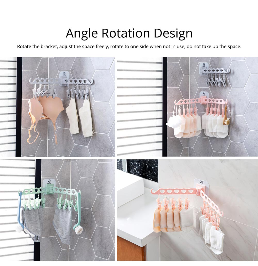Collapsible Clothes Rack with 10 +2 Clip & Multiple Angle Rotation Design for Drying Underwear, Socks, Towels 5