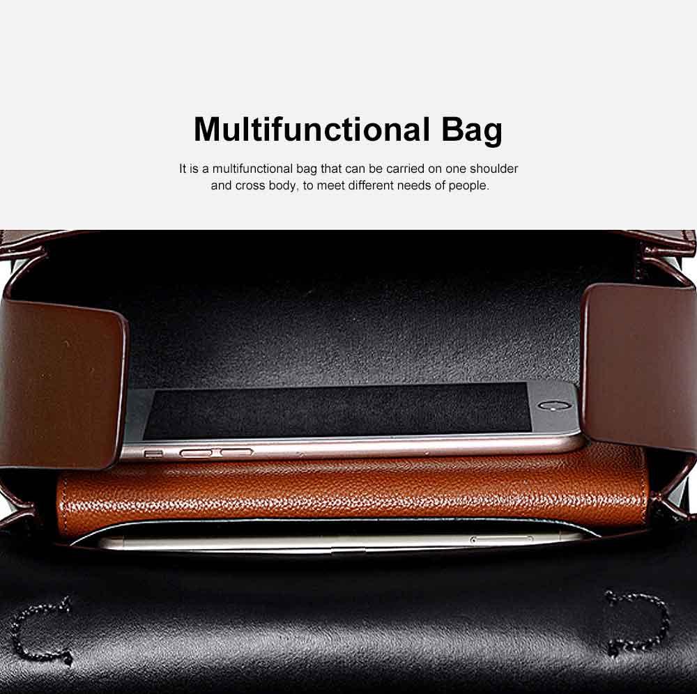 Women's Shoulder Bag Leather Handbag with Hardware Adjusting Buckle Holding Cards, Cash, Coins Crossbody Bag 4