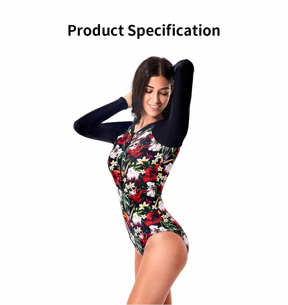 One Piece Wetsuit for Women Long Sleeve Zipper Europe and America Style Fashion Printing Briefs Swimsuit 6