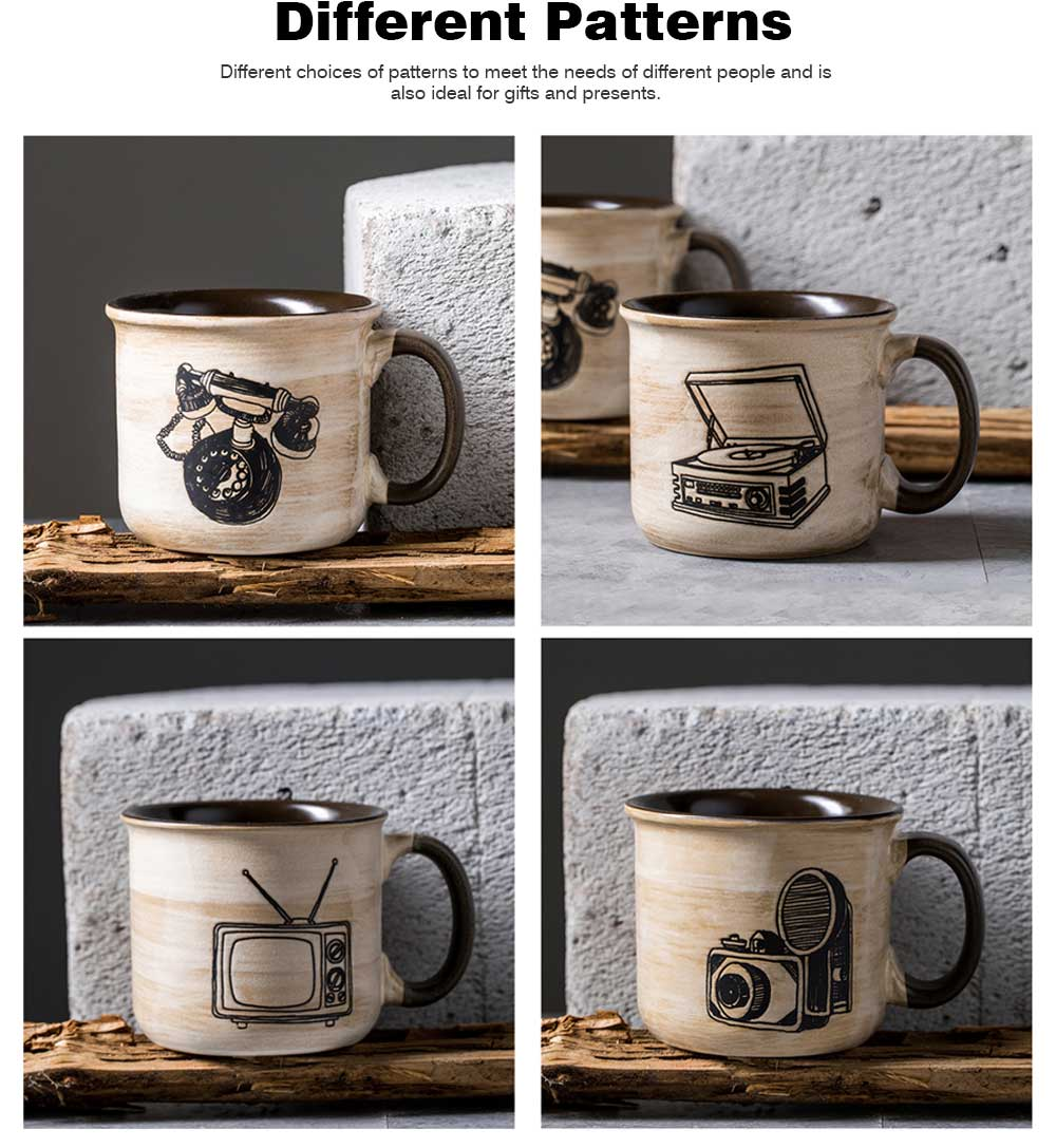 Ceramic Mug Cup Retro Design for Cereal, Milk, Water, Tea, Breakfast Cup with Freehand Sketching, Water Mug with Large Capacity 6