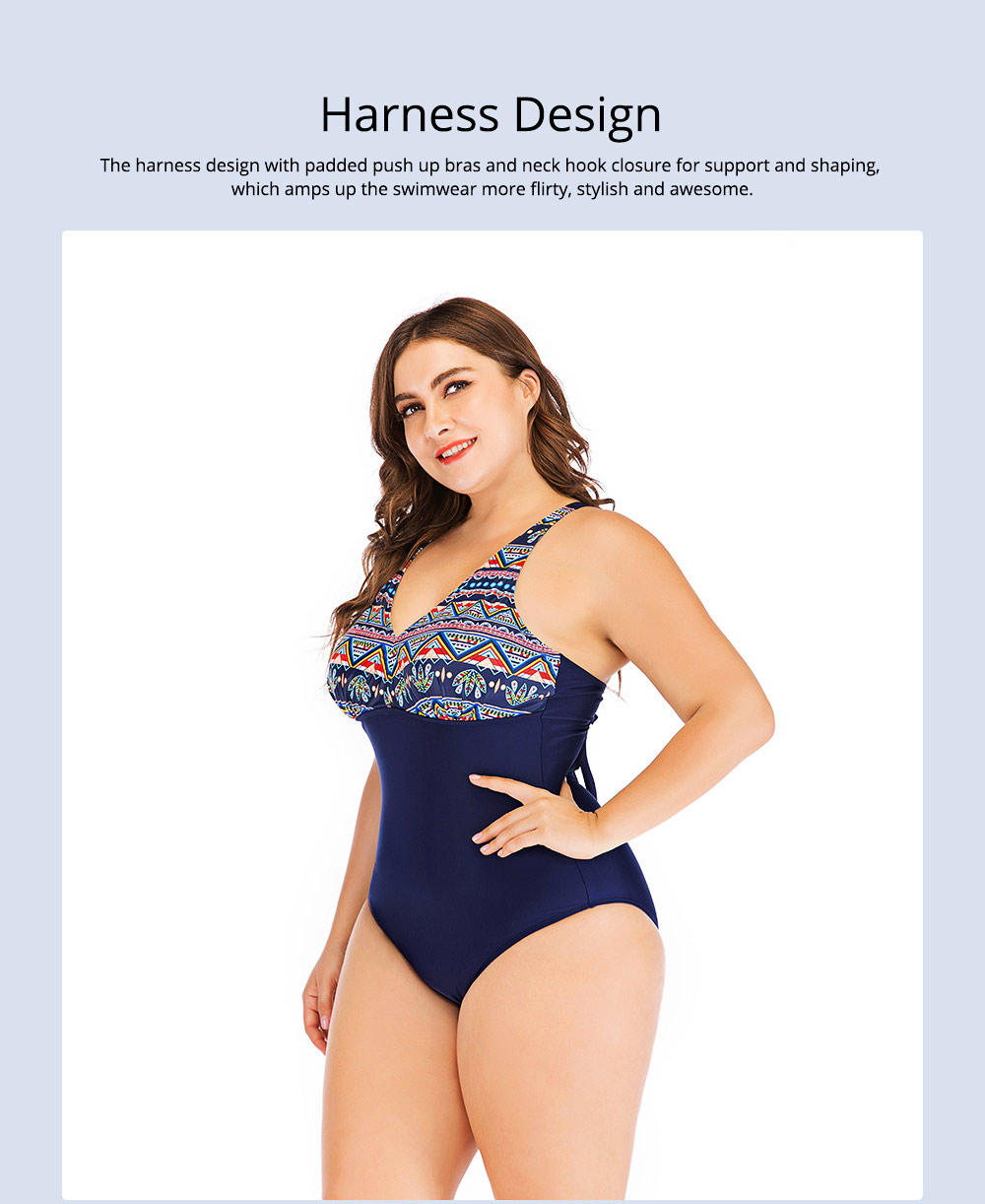 Full-size Flounce Swimsuit Digital Print One-piece Slimming, Straps Slimming Swimsuit with Various Style 2