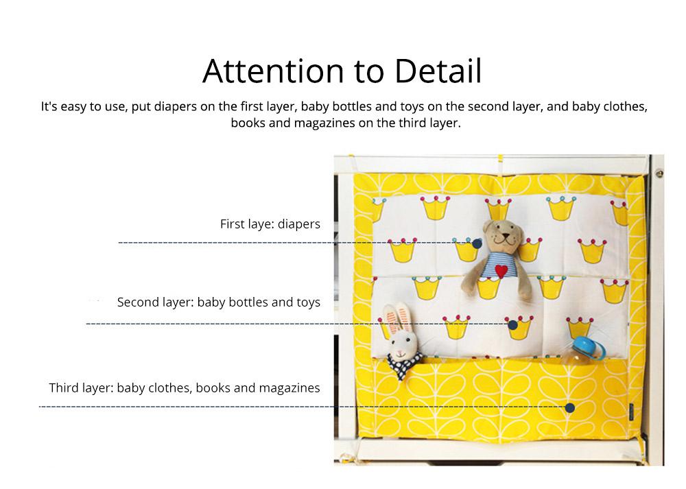 Multi-layer Cotton Cot Storage Bag Cartoon Multi-function Bed Baby Diaper Storage Bag 5