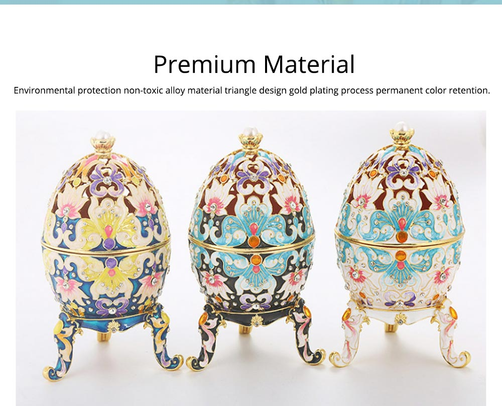 Diamond-inlaid Large-sized Colored Eggs for Jewelry Boxes, Luxury Ornaments, Metal Crafts Gifts 1