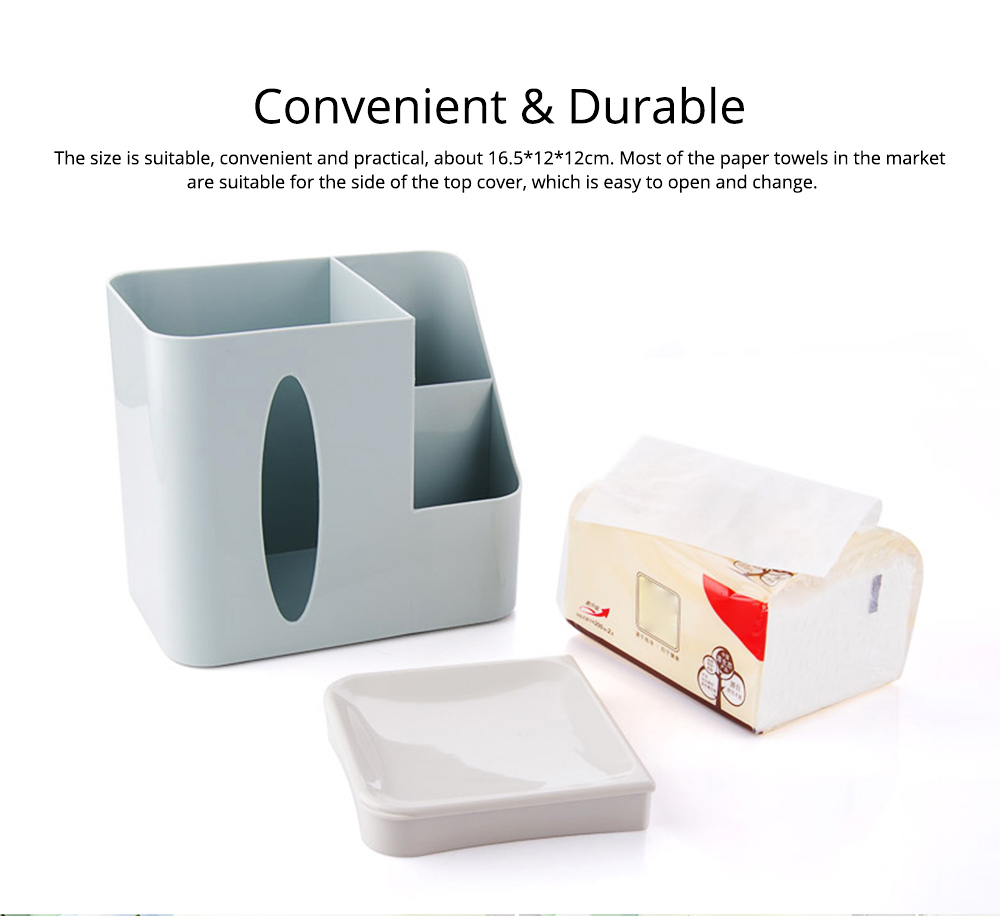 Multifunctional Tissue Box with Multiple Cell & Top Concave Design, Non-skid and Non-abrasive Bottom Pad Tissue Box 7