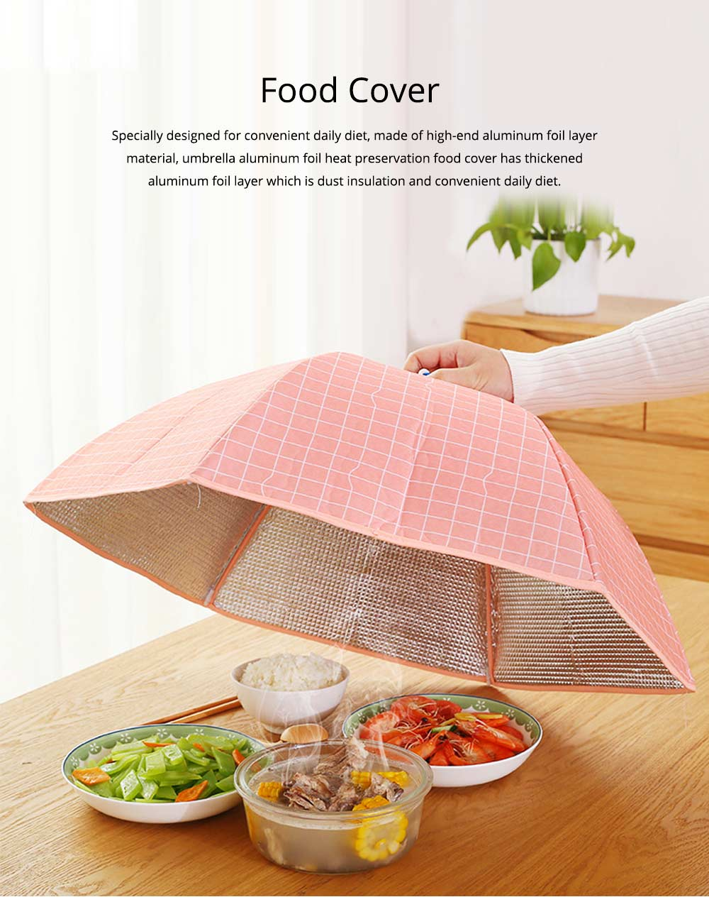 Umbrella Aluminum Foil Heat Preservation Food Cover with Aluminum Foil Layer for Dust Insulation & Convenient Daily Diet 0