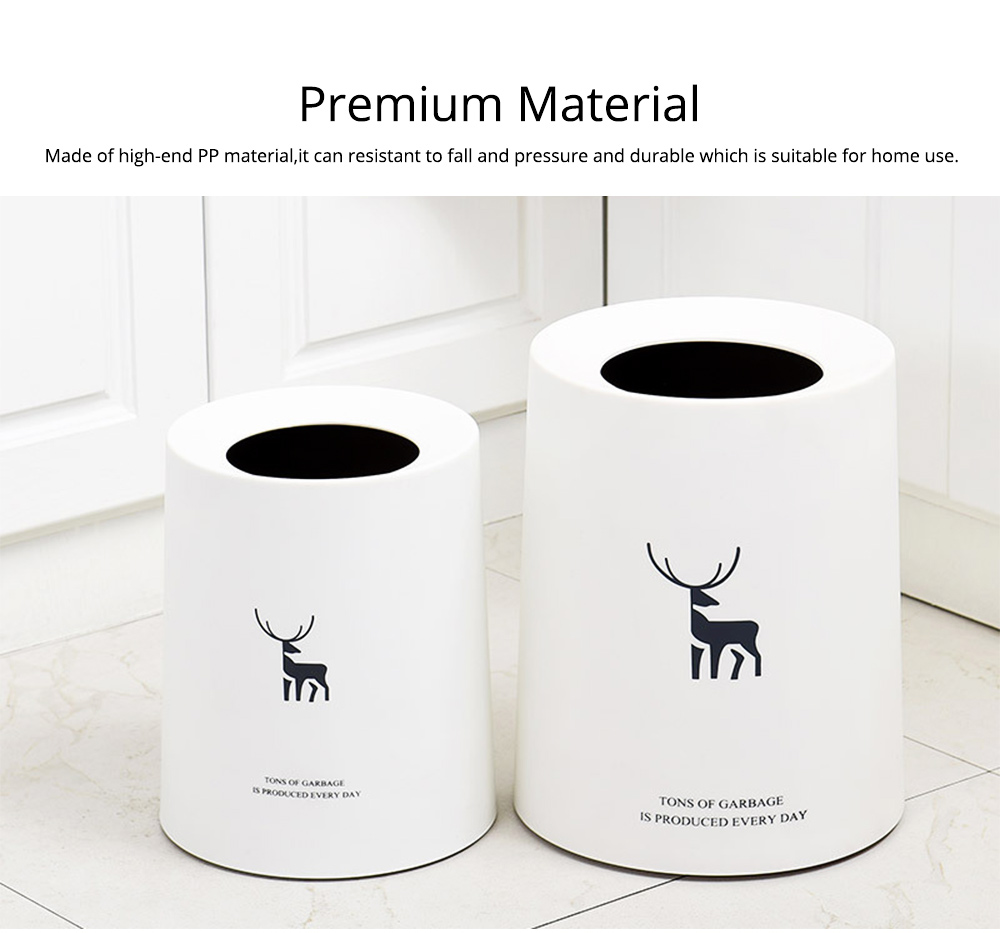 Double-layer Circular Trash Can with Creative Reindeer Pattern and Open Hatch & Internal  External Dual Pass Design 2