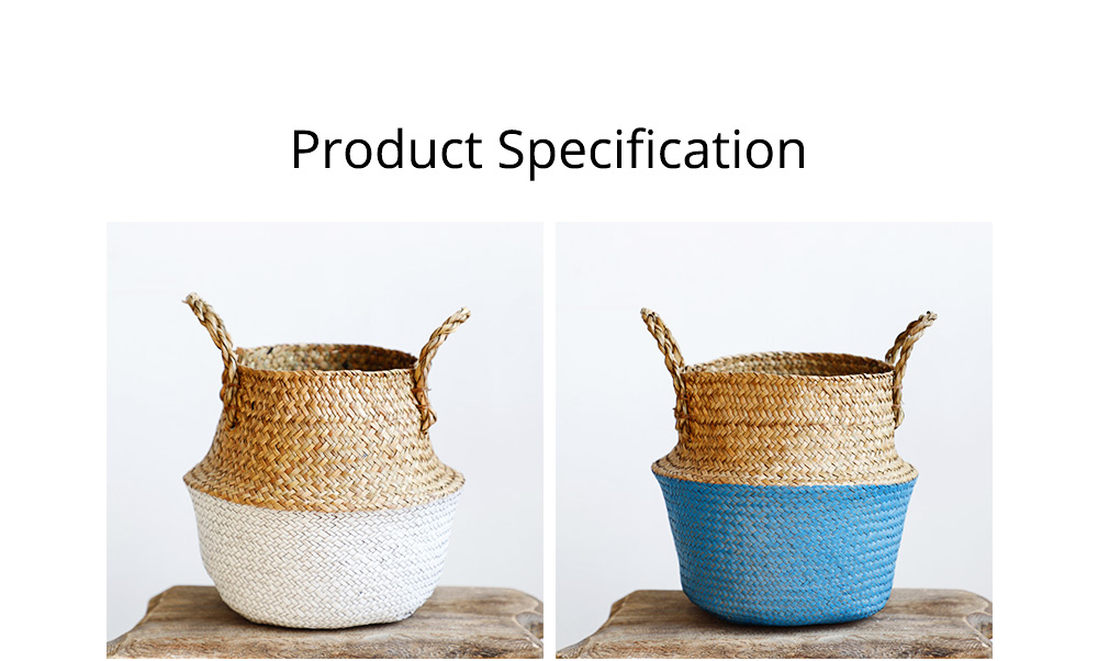 Straw Plait Collapsible Storage Basket to Contain Handle, Green Plant Flower Basket Flower Implement Rattan Woven Home Goods Basket 9
