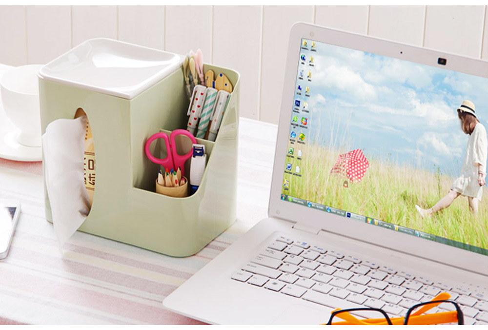 Multifunctional Tissue Box with Multiple Cell & Top Concave Design, Non-skid and Non-abrasive Bottom Pad Tissue Box 5