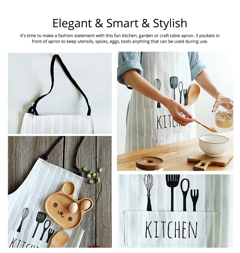 Creative Cotton Cutlery Pattern Apron with Adjustable 3 Pockets Design for Professional for BBQ, Baking, Cooking for Men & Women 4