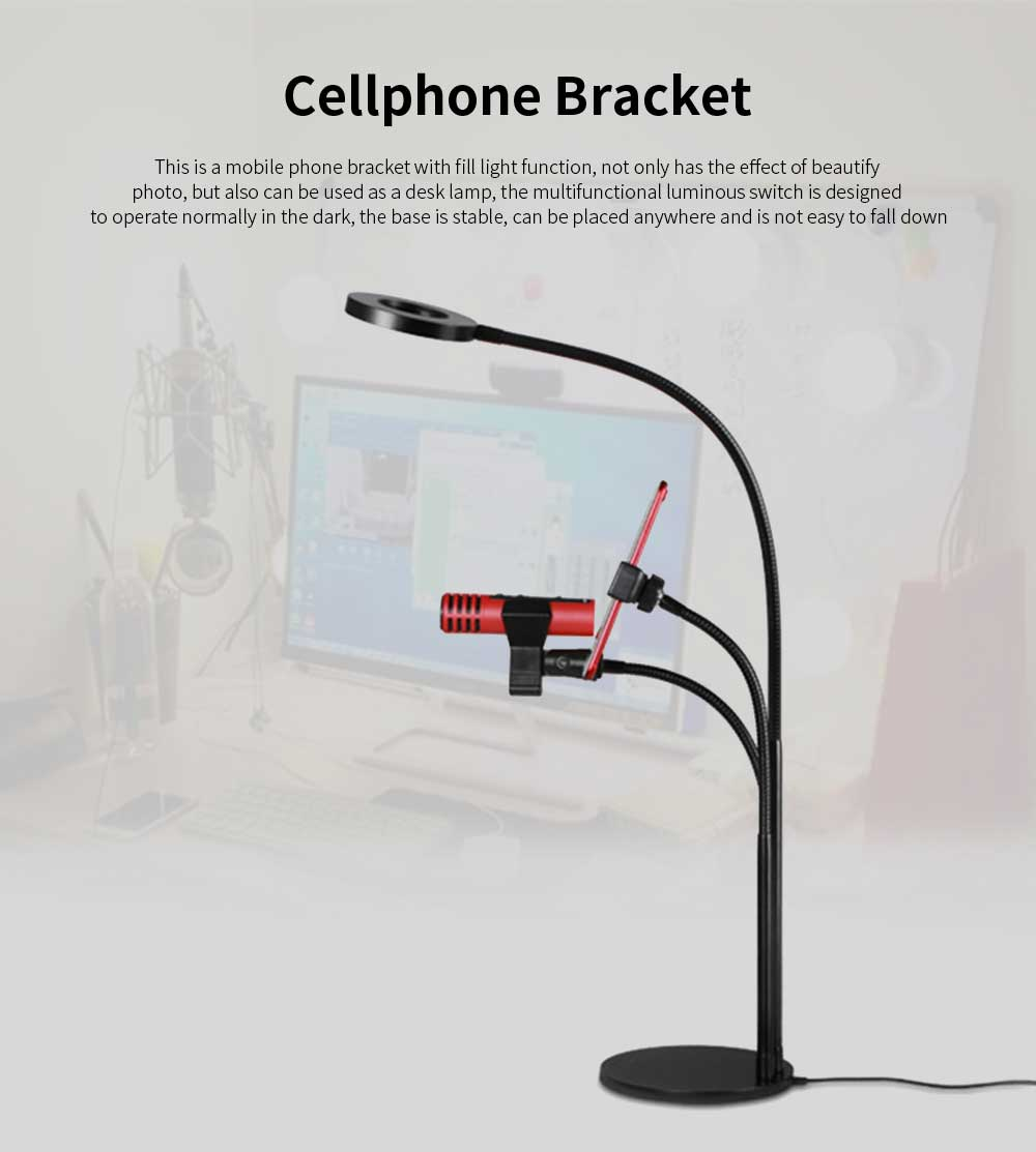 3 in 1 Broadcast Mic Stand With Selfie Ring Light Cellphone Stand Microphone Holder for Live Stream 3 Light Color with Adjustment Gooseneck Weigted Base For iPhone X, 8 Samsung S9 Note 8 Black 0