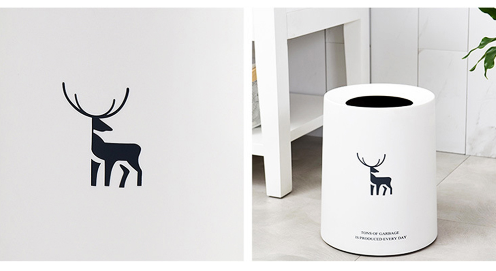 Double-layer Circular Trash Can with Creative Reindeer Pattern and Open Hatch & Internal  External Dual Pass Design 4