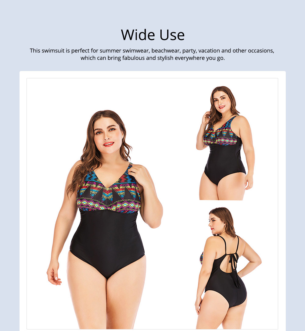 Full-size Flounce Swimsuit Digital Print One-piece Slimming, Straps Slimming Swimsuit with Various Style 5