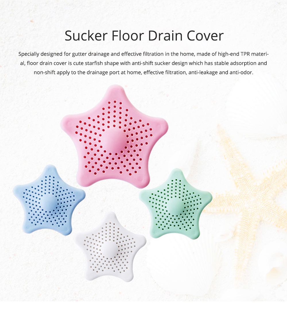 Starfish Shaped Sucker Floor Drain Cover with Strong Sucker Design & Dense Hole, Leaky Sink Cover Prevent Leakage & Stink Proof 0