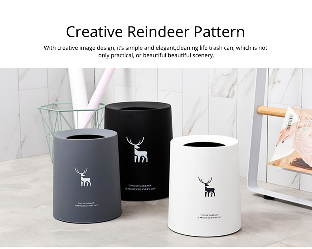 Double-layer Circular Trash Can with Creative Reindeer Pattern and Open Hatch & Internal  External Dual Pass Design 6