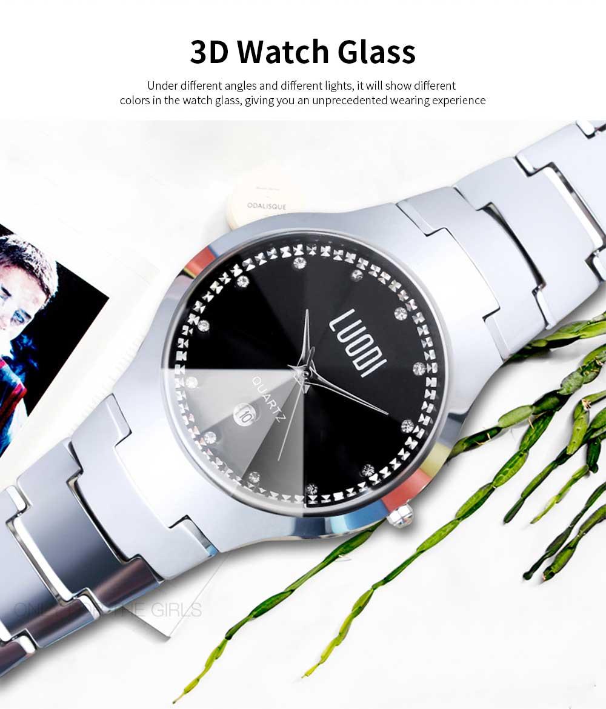 Tungsten Steel Watch for Men Fashion Cool Black Quartz Movement Waterproof 3D Watch Case WristWatch Stylish Couple Watches 2