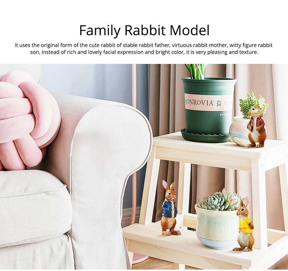 A Family of Three Rabbits with Bright Color & Cute Face Expression for Crafts, Couple Gifts Rabbit Creative Decorations, Birthday Gifts 3