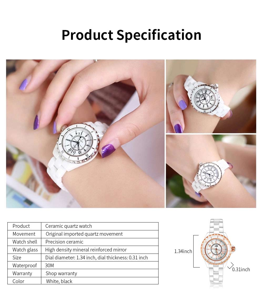 Genuine White Ceramic Band Quartz Watch for Women Fashion Luminous Waterproof 30m Imported Movement Couple Wristwatch 6