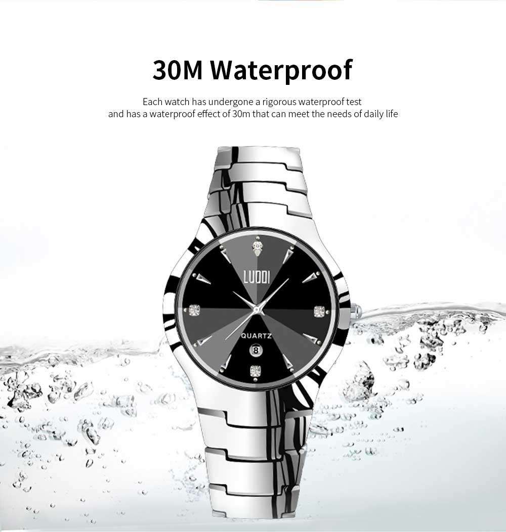 Tungsten Steel Watch for Men Fashion Cool Black Quartz Movement Waterproof 3D Watch Case WristWatch Stylish Couple Watches 4