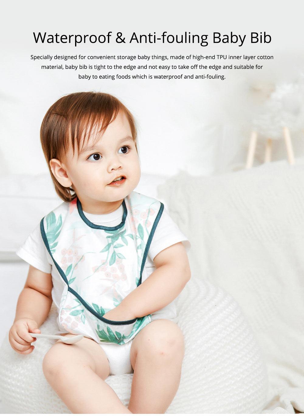 Waterproof & Anti-fouling Baby Bib with Large Capacity Rice Pocket & Velcro Design Baby Bib 0