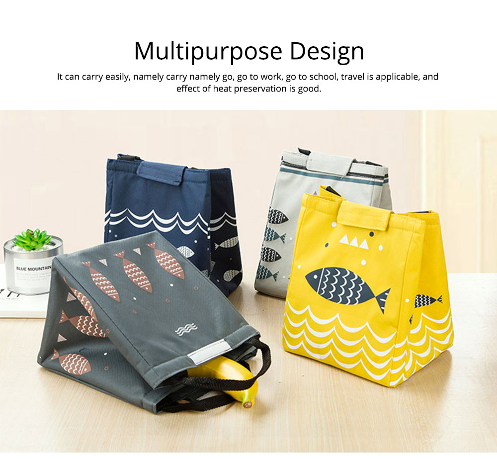 Waterproof Oxford Cloth to Bag Lunch Box Bag with Rice Bag with Heat Preservation & Large Capacity for Going to Work, School, Travel 5