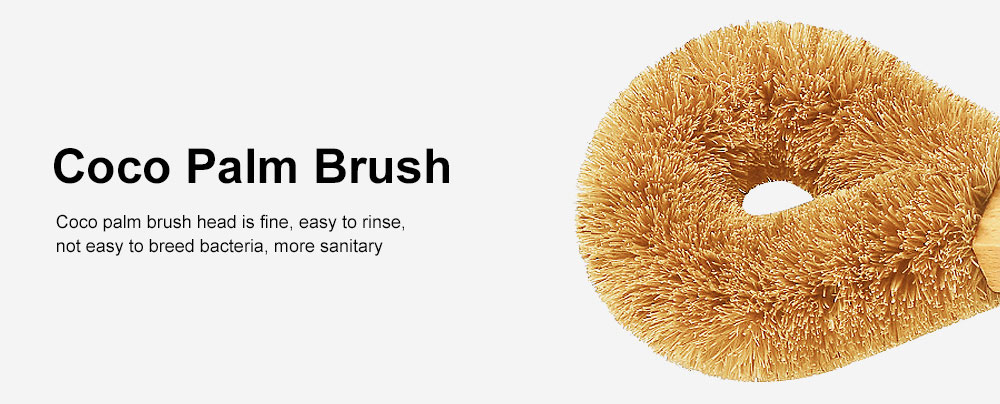 Kitchen Long Handle Brush, Household Practical Brush for Washing Pot, High-quality Natural Coir Cleaning Brush 4