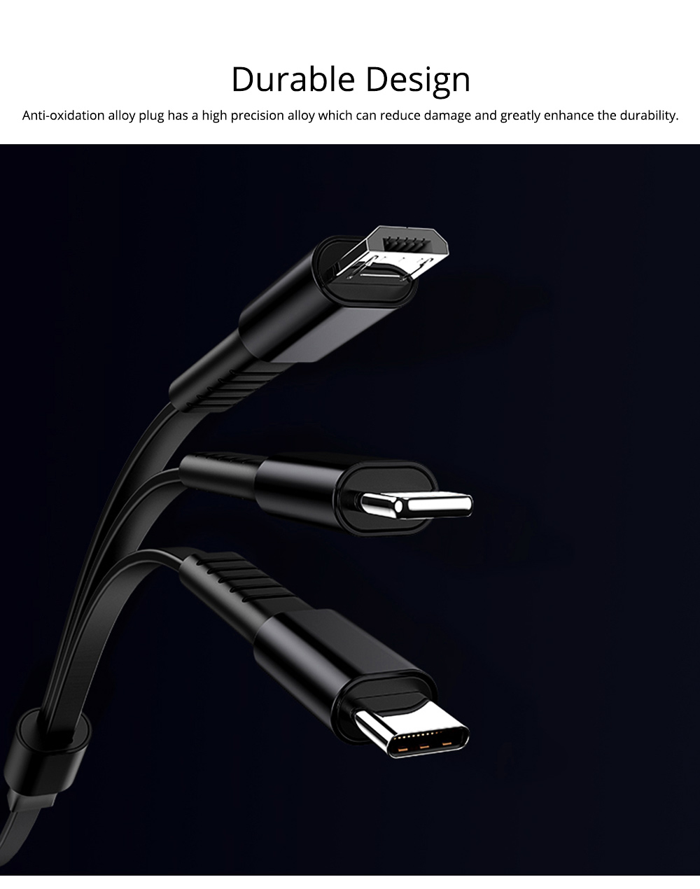 A Line of Triple Flexible Data Cable, Universal Data Cable with Noodle Design for Apple Android & Type-c 3