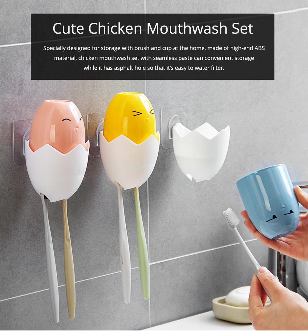Cute Chicken Mouthwash Set with Seamless Paste, Toothbrush Holder & Mouthwash Cup in One Easy Water Filter 0