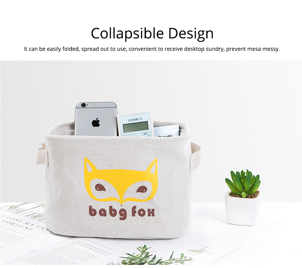 Cartoon Cotton & Linen Household Bedroom Storage Box Storage Basket with Double Handle for Magazine, Toys, Snacks 4